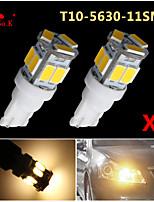 2x T10 W5W 192 168 194 7014 5730 11 11smd llevó cálida luces laterales blancas cuña llevado 12v luz
