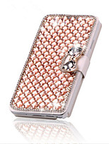 For iPhone X iPhone 8 iPhone 5 Case Case Cover Card Holder Rhinestone with Stand Flip Full Body Case Geometric Pattern Hard PU Leather for