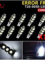 10x cuña canbus t10 blanco 192 168 194 W5W 13 SMD 5050 llevó la luz de error bombilla de la lámpara 12v libre