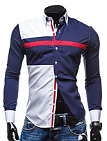 Men's Long Sleeve Shirt , Polyester Casual / Work Print / Pure