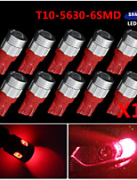 10X T10 192 194 2825 High Power 5630 Chip SMD LED Pure Red Interior Light Bulbs