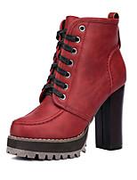Scarpe Donna - Stivali - Matrimonio / Formale / Casual - Punta arrotondata - Quadrato - Di pelle - Nero / Rosso