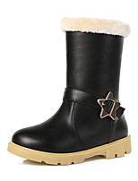 Women's Shoes Low Heel Round Toe / Closed Toe Boots Outdoor / Casual Black / Red / Almond