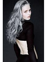 Long Curly Hair European Weave Gray Color Hair Wig