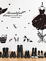 Wall Stickers Wall Decals, Fashion Beauty Clothing Dress Hat PVC Wall Stickers