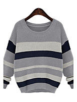 Women's Striped / Patchwork Blue / Gray Pullover , Sexy Long Sleeve