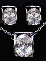 Gorgeous Platinum Plated With Cubic Zirconia Wedding/Special Occaision / Party Jewelry Set.