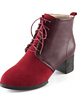 Women's Shoes Chunky Heel Round Toe / Closed Toe Boots Outdoor / Casual Black / Brown / Burgundy