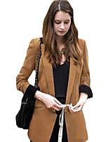 Women's Solid Black / Yellow Blazer , Work Notch Lapel Long Sleeve