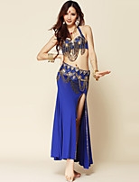 Belly Dance Outfits Women's Performance Spandex / Polyester Draped 3 Pieces 6 Colors