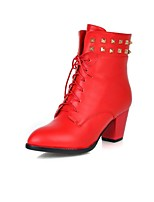 Women's Shoes Leatherette Chunky Heel Heels  / Pointed Toe Boots Outdoor / Office & Career / Casual Black / Red