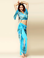 Belly Dance Outfits Women's Performance Chinlon / Spandex Draped 2 Pieces Blue / Light Purple / Red / Royal Blue