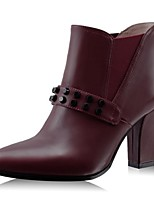 Women's Shoes Leather Chunky Heel Fashion Boots Boots Office & Career / Party & Evening / Dress Black / Burgundy
