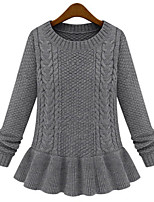 Fashion Plus Sizes Women Loose Round Neck Long Sleeved Bottoming Sweater Gray Pullover