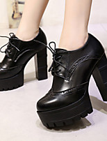 Women's Shoes Leatherette Chunky Heel Fashion Boots / Combat Boots Boots Outdoor / Dress / Casual Red / Gray