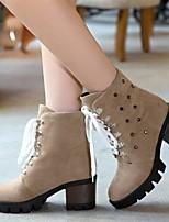 Women's Shoes Fleece / Leatherette Chunky Heel Platform / Fashion Boots Boots Office & Career / Dress / Casual Black