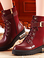 Women's Shoes Leather Flat Heel Fashion Boots Boots Office & Career / Party & Evening / Dress Black / Burgundy