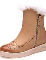 Women's Shoes Leather Flat Heel Fashion Boots Boots Party & Evening / Dress / Casual Black / Brown