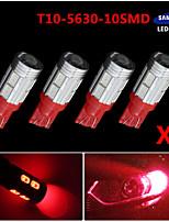 4x t10 192 194 2825 de alta potencia 10 5630 de chips SMD llevó bombillas interiores rojos puros