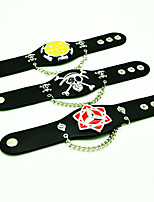 One Piece Punk Style Giant People  Animation LOGO Black Leather Bracelet(1 Pc)