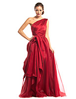 TS Couture Formal Evening Dress - Burgundy A-line One Shoulder Floor-length Organza / Satin