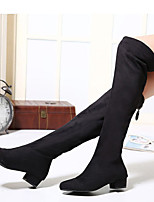 Women's Shoes Fashion Round Toe Chunky Heel Riding Boots Over The Knee Boots  Dress with Zipper Black Shoes