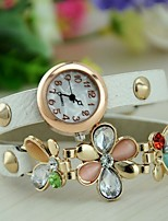 Women's Fashion Watch Bracelet Watch Quartz Leather Band Flower