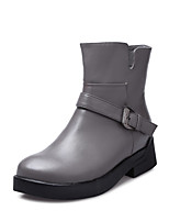 Women's Shoes Leather Chunky Heel Fashion Boots / Round Toe Boots Office & Career / Dress
