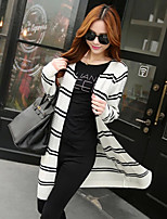 Women's Striped Red / White / Black Cardigan , Sexy Long Sleeve