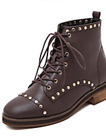 Women's Shoes Leather Round Toe Chunky Heel Fashion Boots Bootie  /  Boots Dress Black / Brown More Colors Available