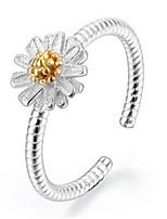 S925 Fine Silver Daisy Flower Shape Open Ring for Wedding Party Fine Jewelry
