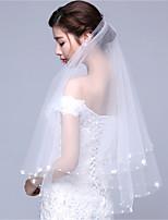 White / Ivory Wedding Veil One-tier Fingertip Veils Cut Edge