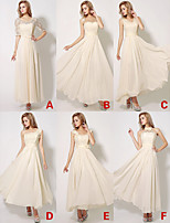 Ankle-length Chiffon / Lace Bridesmaid Dress - Champagne A-line V-neck