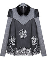 Winter New Casual Women  Loose Plus Sizes Fashion Splice Doll Collar Long Sleeve Sweaters