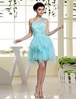 Fiesta formal Vestido - Azul cielo Corte en A Corto - Sobre un Hombro Gasa