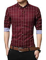 Men's Long Sleeve Shirt , Cotton Casual / Work / Formal Plaids & Checks,Business casual fashion cotton washed
