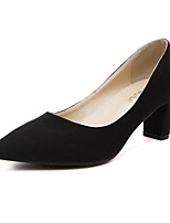 Women's Shoes  Chunky Heel Pointed Toe Heels Pumps with Dress Black / Gray / Almond