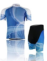Men's Short Sleeve Cycling Clothing Sets/Suits ShortsBreathable / Ultraviolet Resistant /Moisture Azure+white