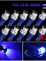 10x t10 921 azul ultra alta potencia 5630 chip LED matrícula interior led luces