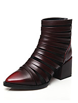 Women's Shoes Leather Chunky Heel Fashion Boots / Pointed Toe Boots Outdoor / Dress / Casual Green / Burgundy