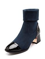 Women's Shoes Fleece Chunky Heel Round Toe / Closed Toe Boots Office & Career / Dress / Casual Black / Blue