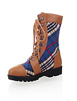 Women's Shoes Fabric  Low Heel Fashion Boots / Round Toe / Closed Toe Boots Outdoor / Casual Black / Camel