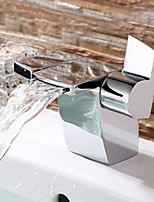 Brass Chrome Polished Bathroom Waterfall Basin Faucet Sink Mixer Tap