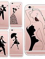 para iphone 7 belezas maycari® e dançarinos TPU transparente macio volta caso para iphone 6s 6 mais