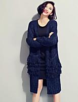 Women's Solid Blue Cardigan , Casual / Cute Long Sleeve