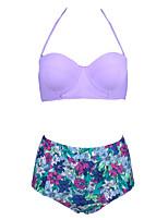 Bikini Da donna A vita alta / Con balze / Tinta unita Push-up / Imbottito / Con ferretto All'americana Nylon / Elastene / Felpato