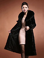 Women's Party Plus Size Casual/Daily Simple Vintage Street chic Winter Fur Coat,Solid Peter Pan Collar Long Sleeve Long Faux Fur