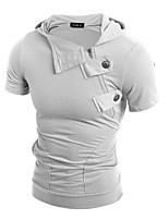 Men's Daily Hoodie Solid Round Neck strenchy Cotton Short Sleeve Spring, Fall, Winter, Summer