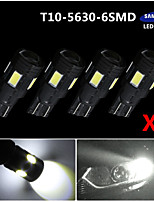 4X Xenon White T10 Side Wedge SAMSUNG 5630 6SMD LED License Map Light W5W 2825
