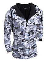 Men's Regular Padded Coat,Street chic Casual/Daily Camouflage-Polyester Polypropylene Long Sleeve